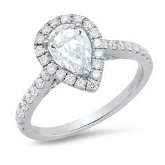 PEARSHAPE DIAMOND RING W/ DIAMOND HALO