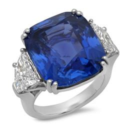 LRC144 CUSHION CUT BLUE CEYLON SAPPHIRE WITH DIAMOND SIDE STONES IN PLATINUM