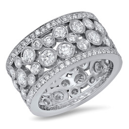 LRC8484 14KWG DIAMOND BEZEL WIDE BAND
