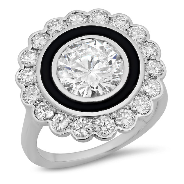 LRC103 ROUND BRILLIANT DIAMOND HALO & BLACK ENAMEL VINTAGE INSPIRED RING