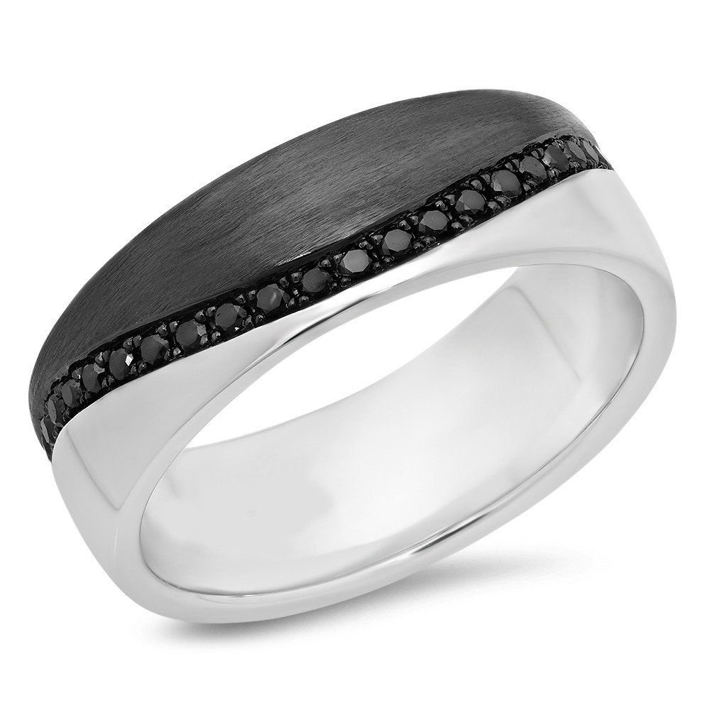 shane m p wedding co bands black ring sapphire rhodium round mens rings accent with