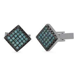 AC1584 BLUE DIAMOND CUFFLINKS W/ BLACK RHODIUM OVER 14K WHITE GOLD