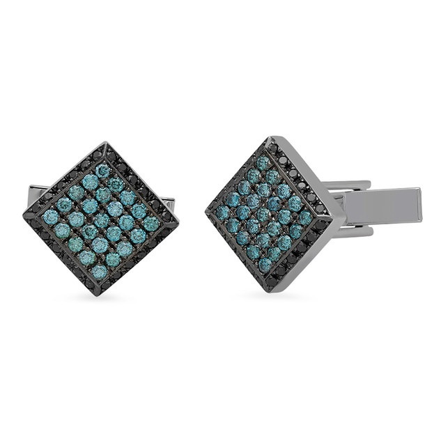 AC1584 BLUE DIAMOND CUFFLINKS W/ BLACK RHODIUM OVER 14K WHITE GOLD