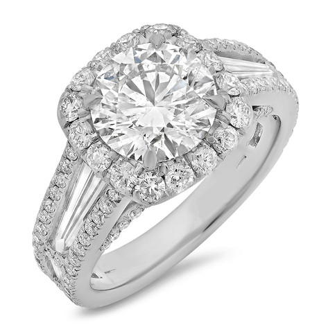 ROUND BRILLIANT CUT DIAMOND W/CUSHION HALO AND TAPER BAGUETTES ENGAGEMENT RING