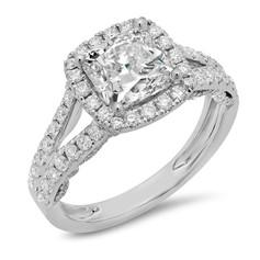 CUSHION CUT DIAMOND HALO W/SPLIT SHANKS ENGAGEMENT RING