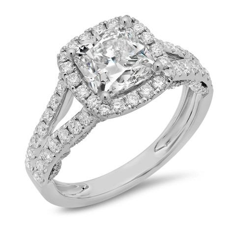 CUSHION CUT DIAMOND HALO W/SPLIT SHANKS ENGAGEMENT RING