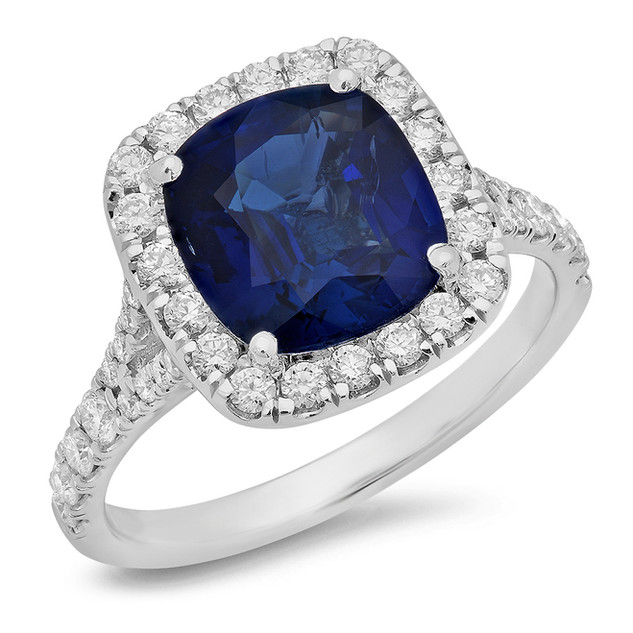 LRC125 CUSHION CUT BLUE CEYLON SAPPHIRE DIAMOND HALO SPLIT SHANK RING