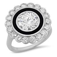 ROUND BRILLIANT DIAMOND HALO & BLACK ENAMEL VINTAGE INSPIRED RING