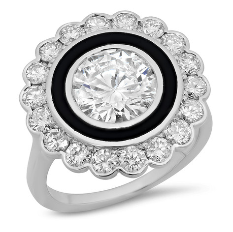 ROUND BRILLIANT DIAMOND HALO & BLACK ENAMEL VINTAGE INSPIRED RING