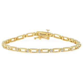 BC1856 YELLOW GOLD BRACELET W/ WHITE DIAMONDS