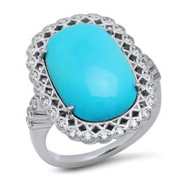 LRC8792 TURQUIOSE DIAMOND RING
