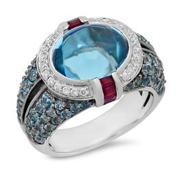 LRC153 BLUE TOPAZ RING WITH WHITE DIAMOND HALO
