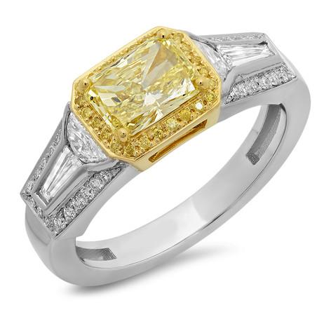 FANCY YELLOW RADIANT CUT DIAMOND RING