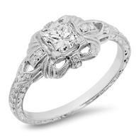 VINTAGE INSPIRED PRINCESS CUT DIAMOND RING IN 14K WHITE GOLD
