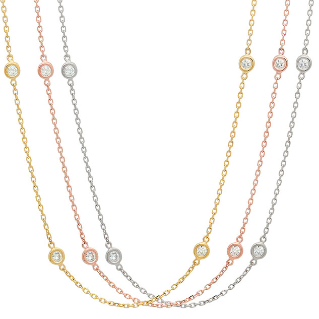 NC100 BEZEL SET DIAMOND STATION NECKLACE