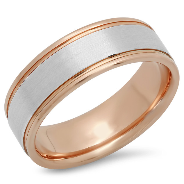 MEN'S TWO TONED BRUSHED CENTER WITH ROUND EDGES COMFORT FIT WEDDING RING
