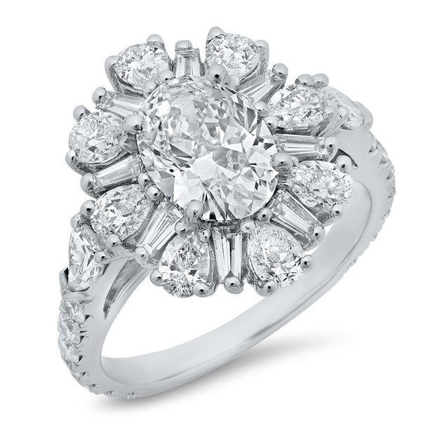 LRC135 OVAL CUT DIAMOND FLOWER RING WITH PEAR SHAPES AND TAPER BAGUETTES IN 14K WHITE GOLD