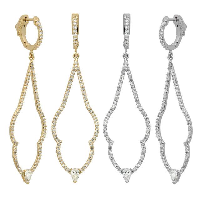 EC564 DANGLING YELLOW & WHITE GOLD DIAMOND EARRINGS