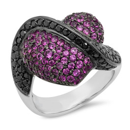 LRC143 HEART RING WITH BLACK & PINK DIAMONDS