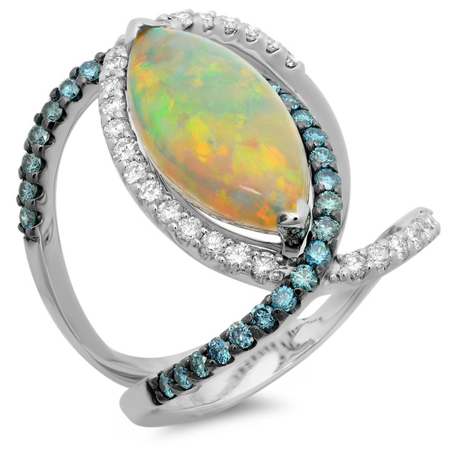 LRC4231 AUSTRALIAN OPAL AND BLUE AND WHITE DIAMOND RING