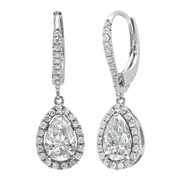 E8951 PEAR SHAPED DIAMOND HALO LEVER BACK DANGLE EARRINGS