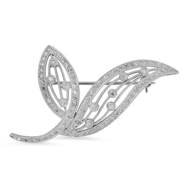 AC103 DIAMOND LEAF BROOCH IN 14K WHITE GOLD