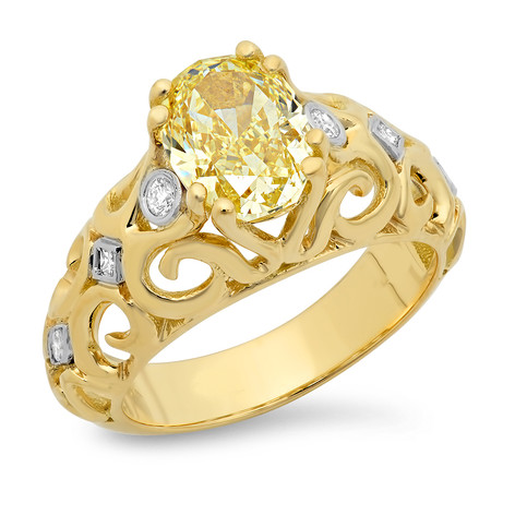 FANCY YELLOW OVAL DIAMOND CUSTOM RING