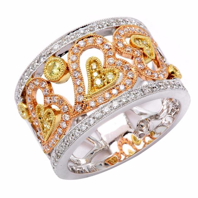 LR4145 YELLOW & WHITE DIAMOND TRI-COLOR GOLD HEART RING