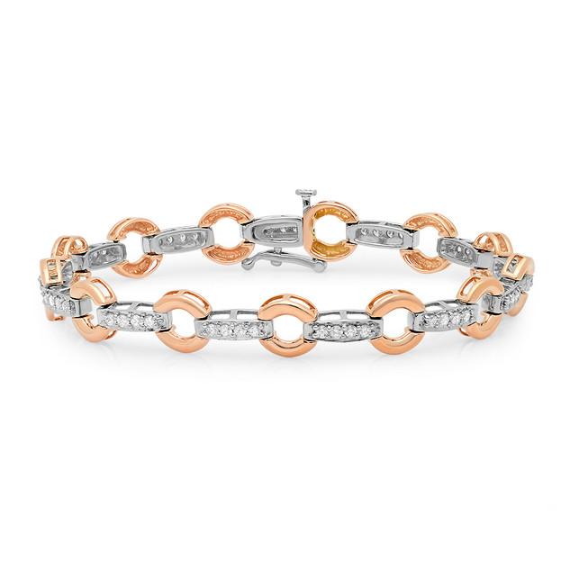 B9163 ROSE GOLD ROUNDEL W/DIAMOND BARS BRACELET