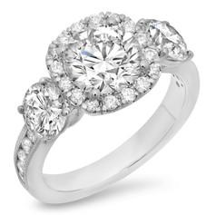 ROUND BRILLIANT CUT DIAMOND W/CUSHION SHAPED HALO THREE-STONE DIAMOND ENGAGEMENT RING