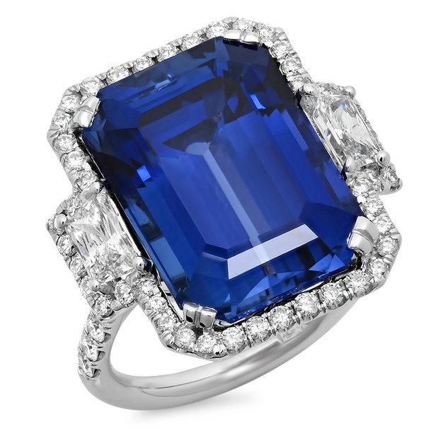 LRC4027 LAB CREATED BLUE SAPPHIRE & NATURAL DIAMOND RING IN 14K WHITE GOLD