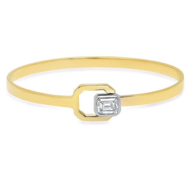 BRC847 14KYG BANGLE W/ EMERALD CUT DIAMOND