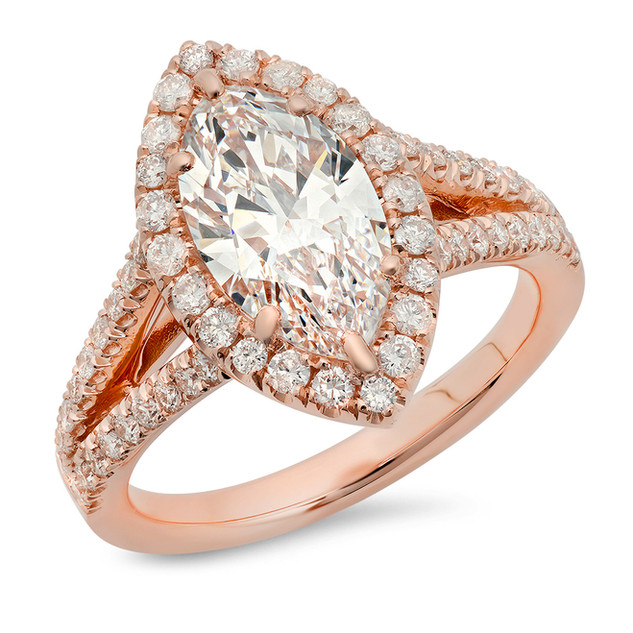 LRC141 MARQUEE DIAMOND ROSE GOLD RING