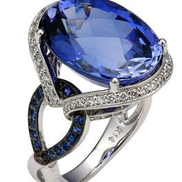 LRC122 BLUE CEYLON SAPPHIRE & DIAMOND RING