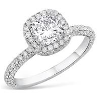 CUSHION CUT DIAMOND W/DIAMOND PAVE HALO ENGAGEMENT RING