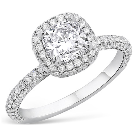 CUSHION CUT DIAMOND W/DIAMOND PAVE HALO ENGAGEMENT RING