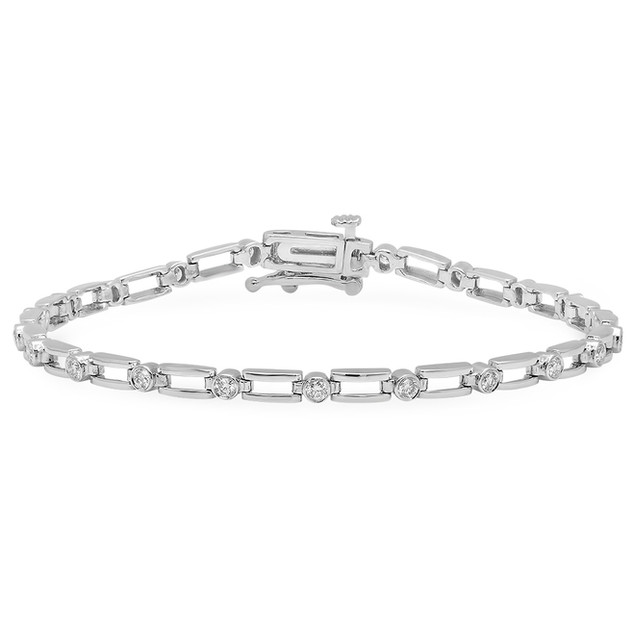 BC1516 WHITE GOLD BRACELET W/ WHITE DIAMONDS