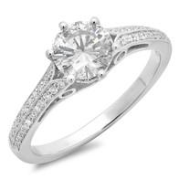 ROUND DIAMOND WITH DIAMOND PAVE ENGAGEMENT RING