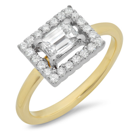 EAST-WEST EMERALD CUT DIAMOND HALO RING