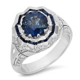 LRC100 CEYLON SAPPHIRE & DIAMOND VINTAGE INSPIRED ENGAGEMENT RING