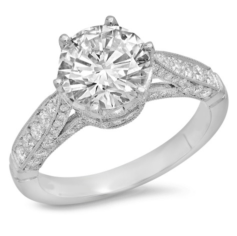 EDWARDIAN INSPIRED ROUND BRILLIANT CUT DIAMOND ENGAGEMENT RING IN PLATINUM