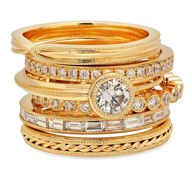 LRC4546 14K YELLOW GOLD STACKABLE BANDS