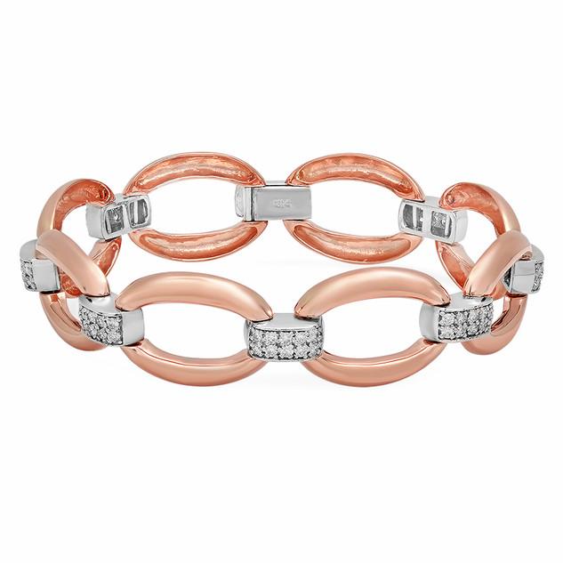 BC125 ROSE GOLD BRACELET W/ WHITE DIAMOND BARS