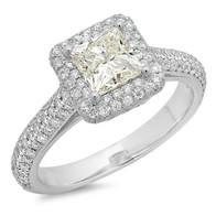 PRINCESS CUT DIAMOND PAVE HALO ENGAGEMENT RING