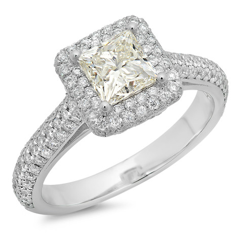PRINCESS CUT DIAMOND PAVE HALO ENGAGEMENT RING