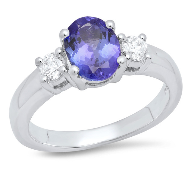 LRC5656 BLUE OVAL SAPPHIRE WHITE GOLD RING