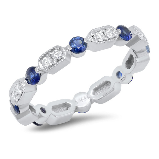LRC1212 DIAMOND & BLUE SAPPHIRE ETERNITY BAND