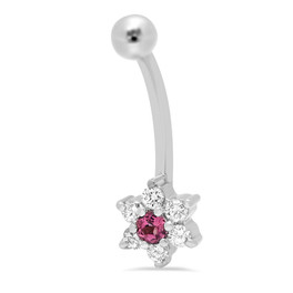 14K WHITE GOLD DIAMOND & PINK SAPPHIRE FLOWER BELLY RING