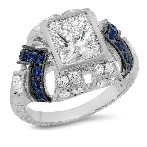 PRINCESS CUT DIAMOND & SAPPHIRE RING