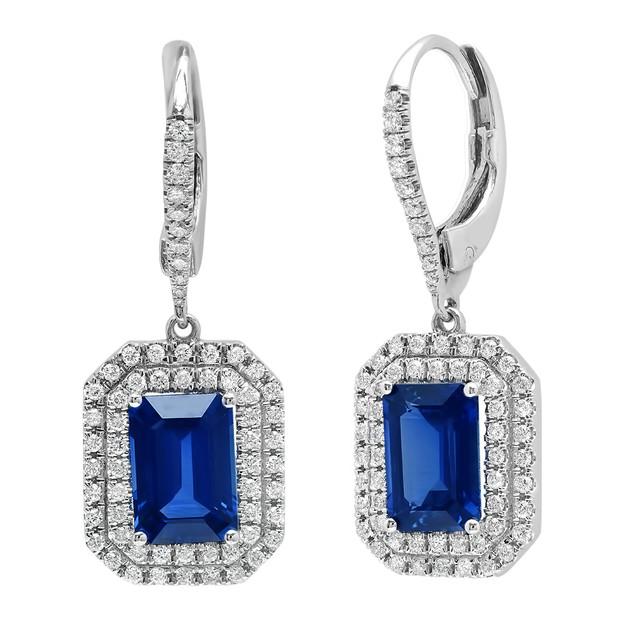 E8952 EMERALD CUT CEYLON BLUE SAPPHIRE DOUBLE DIAMOND HALO EARRINGS
